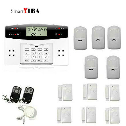 SmartYIBA Wireless GSM SMS Home Burglar Security Alarm System LCD Keyboard Russian Spanish French Italian Czech Voice smartyiba russian spanish french wireless sms home gsm alarm system house intelligent auto burglar door security alarm systems