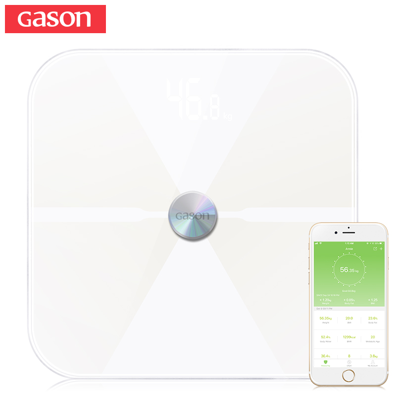 GASON T6 Smart Body Fat Scales Floor Electronic LED Digital Weight Bathroom Composition Monitor Bluetooth 4.0 APP Android or IOS
