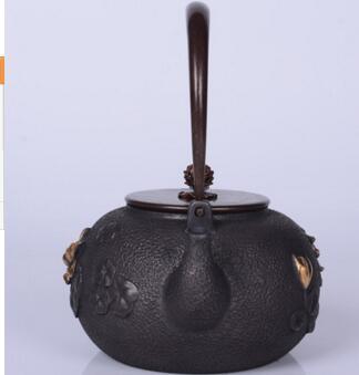 2018 nuevo estilo 1,2l olla de hierro fundido de loto olla de hierro imitación antigua olla de hierro japonés hervidor de hierro de cerdo del Sur tetera hervidor de agua - 5