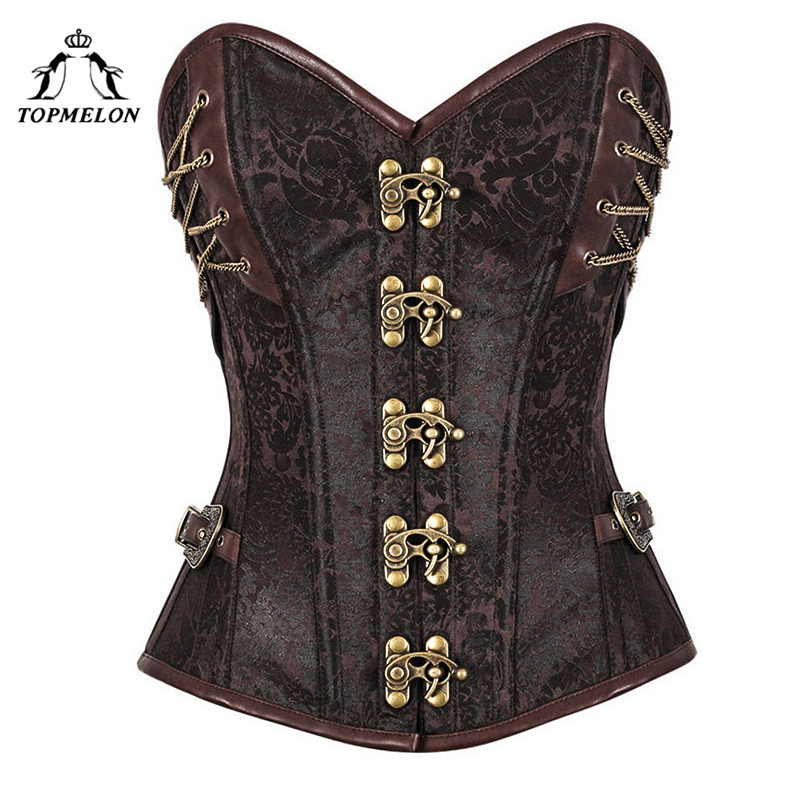 TOPMELON   Corset   Women   Corsets   and   Bustiers     Corset   Steampunk   Bustier   Gothic Corselet Retro Leather Chains Floral Party Club Tops