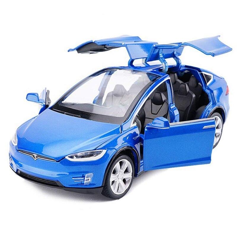 Coche de juguete de aleación de coches con sonido y luz juguetes para niños modelo a escala 1:32X90 (azul) 1/32 escala modelo de fundición GAZ Tigre 15Cm réplica en metal coche niños de juguetes con caja de regalo/caja de sonido/luz/Atrás función