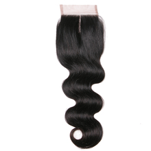 Queen like Human Hair Middle Part 130% Density Light Brown Lace Non Remy Natural Color Bleached Knots Body Wave Lace Closure