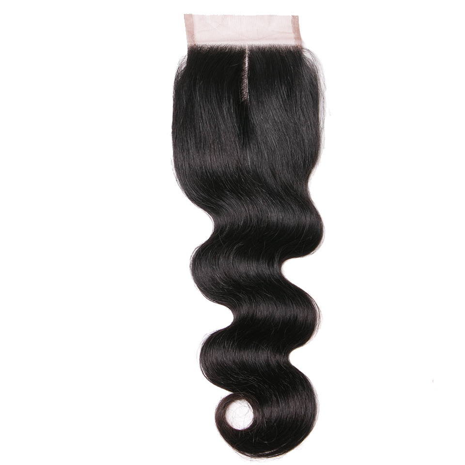 Queenlike Human Hair Products Middle Part Closure 130% Density Swiss Lace Remy Hair Natural Color Body Wave Lace Closure