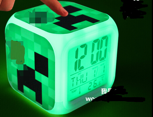 Free Shipping Minecraft Toys Alarm Clock LED Night Light Minecraft