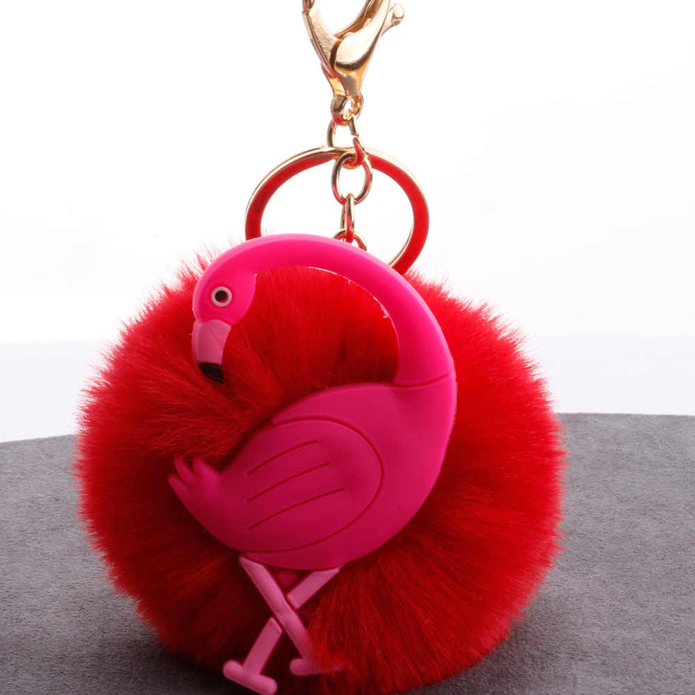 الكرتون بجعة الشعر سلسلة مفاتيح على شكل كرة الأزياء حقيبة سيارة فلامنغو الشعر الكرة قلادة جديد مجوهرات صغيرة