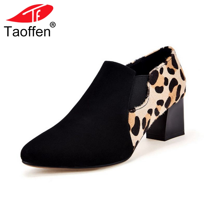 TAOFFEN Women High Heel Pumps Round Toe Thick Heel Real Leather Women Shoes Leopard Sexy Pumps Party Footwear Size 33-42 taoffen size 32 48 sexy women bowtie round toe high heel shoes women ankle strap thick heels pumps party dress women footwears