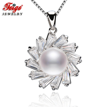 цена на FEIGE 9-10MM White Natural Freshwater Pearl Pendants Genuine 925 Sterling Silver Pendant Necklace For Women's Fine Pearl Jewelry