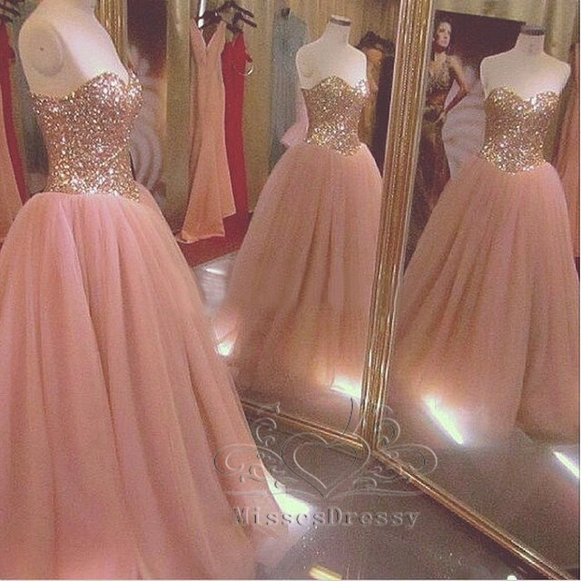 Eye Catching Long Ball Gowns Sweetheart Crystals Beads Floor Length ...