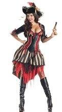 Ensen piratas del caribe cosplay disfraces de halloween europa stripe dress juegos de rol partido fantasia adulto traje
