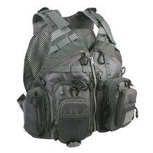 Multifunctional Mesh Fishing Backpack Vest Men Outdoor Sports Hiking Photography Multi Pocket Jacket Grey Color