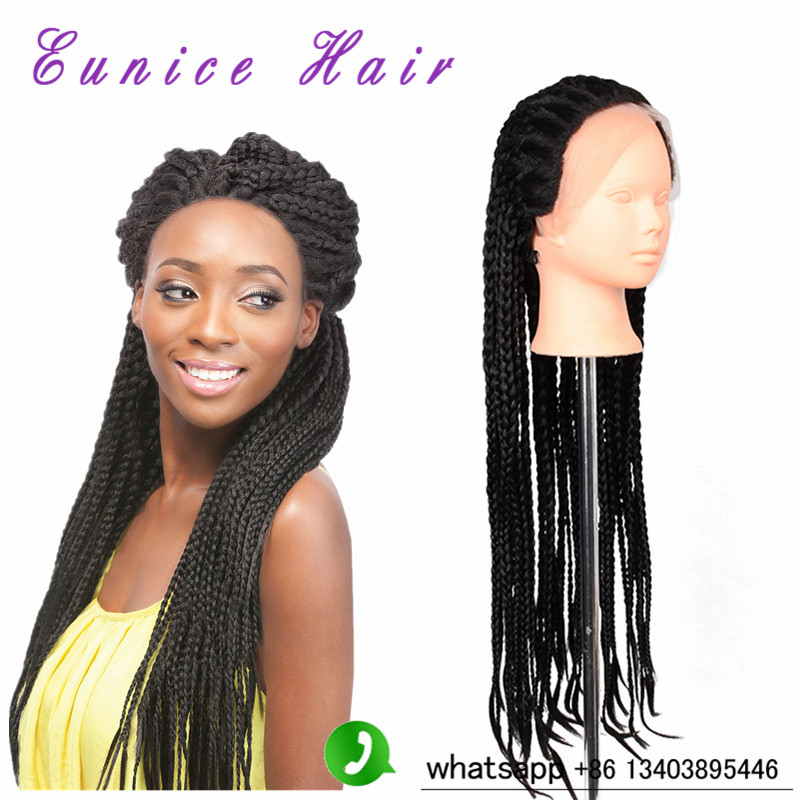 ФОТО Black Color 1B Synthetic Twist Braided Lace Front Wig Mambo Twist Box Braid Hair Lace Front Wigs For American Women Lace Wigs