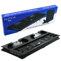 PS4 Pro Vertical Cooling Stand With 2 Controller Charging Dock Station For Sony Playstation 4 PS