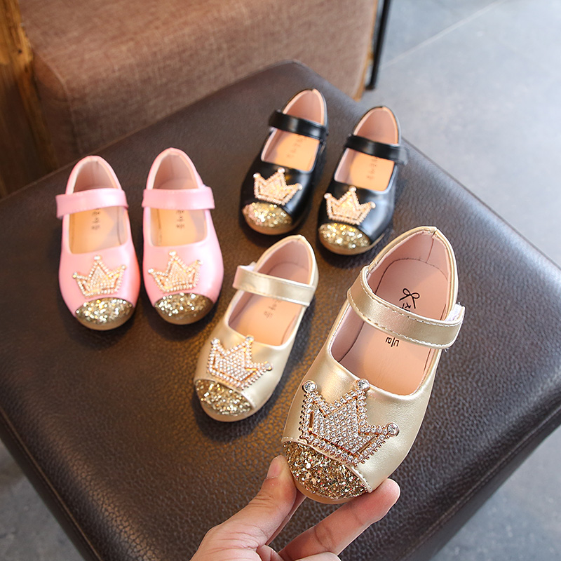 1 2 3 4 5 6 7 8 9 10 11 12 Years New 2019 Flower Children Little Baby Girls Gold Leather Shoes For Girls Sequin Princess Shoes 2