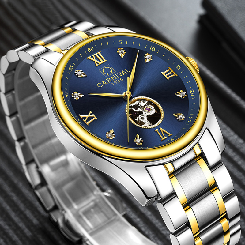 Carnival Luxury Brand sports Business Men Wrist Watches Automatic Mechanical Watch Military stainless steel Skeleton Watches hot 2016 carnival luxury brand sport men automatic skeleton watch mechanical military watch men full steel stainless band reloje