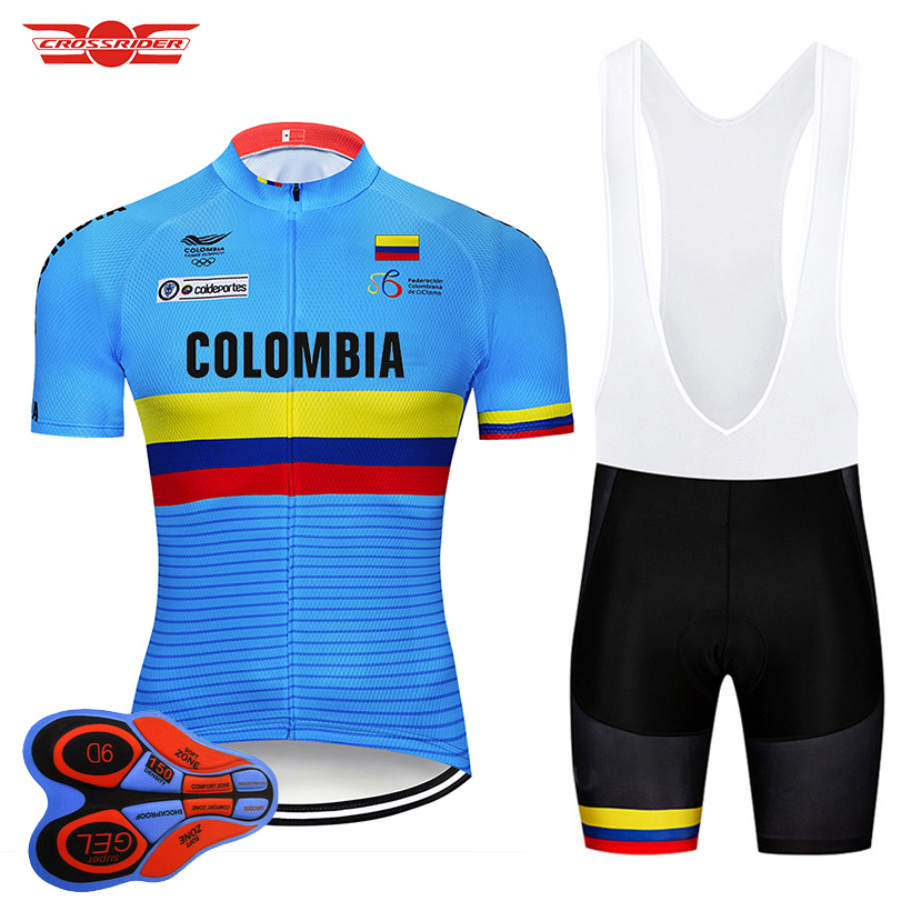 Crossrider 2019 Blue Colombia Cycling Jerseys Set MTB Shirt Bike Clothing Breathable Bicycle Clothes Men's Short Maillot Culotte-in Cycling Sets from Sports & Entertainment