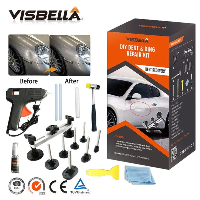 VISBELLA Professional Dent Ding Repair Kit Car Body Remover Puller Hand Tool Set Auto Pulling Bridge with glue gun PDR Tools Kit