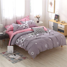 Classical Pink Blue Grey Duvet Cover Pillowcase Bedding Sets Adult Kids Soft Cotton Bed Linens Quilt Comforter Pillow Case14(China)