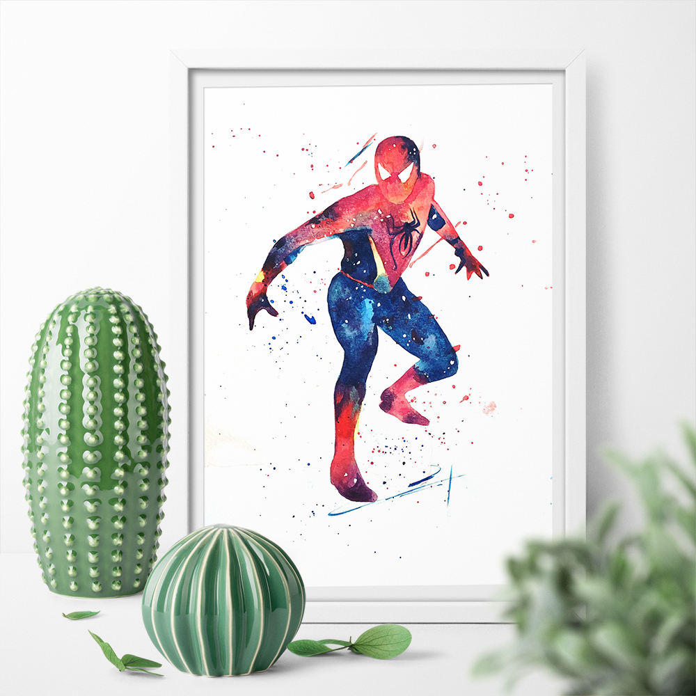Art Print Wall Art Canvas Painting Spider Man Superhero Watercolor Print Poster Home Decor Picture Print For Bed Room No Frame