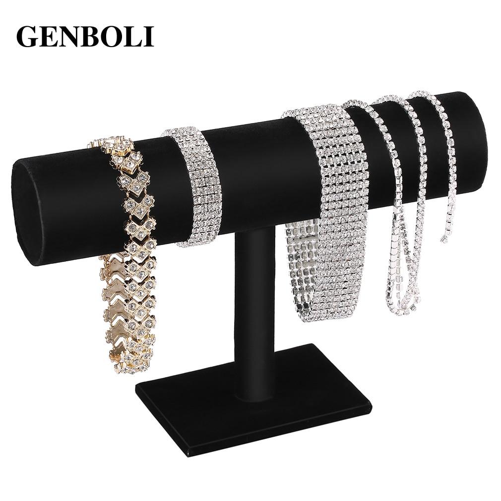 GENBOLI Black Velvet/Leather T Bar Rack Organizer Hard Stand Holder For Bracelet Chain Necklace Watch Fashion Jewelry Organizer