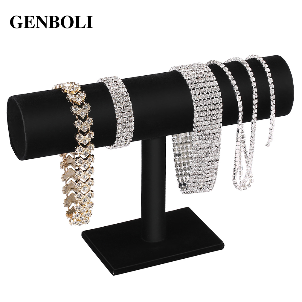 GENBOLI Black Velvet/Leather T Bar Rack Organizer Hard Stand Holder For Bracelet Chain Necklace Watch Fashion Jewelry Organizer