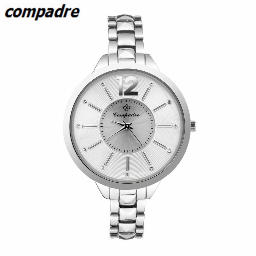 COMPADRE High Quality Quartz Bangle Watch Thin Silver Rhinestone Watch Women Crystal Clock Ladies Wrist Watches Dress