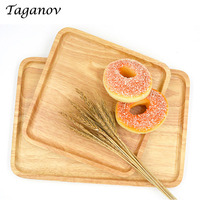 10 Pcs Lot Rectangle Wood Serving Trays Party Home Food Dinner Plates Snacks Fruit Milk Dishes