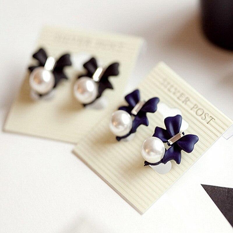 Ek616 Fashion New Earing Bijoux Elegance Ladies Black Bow Crystal Stud Earrings For Women Earings Jewelry Accessories Jewelry & Accessories