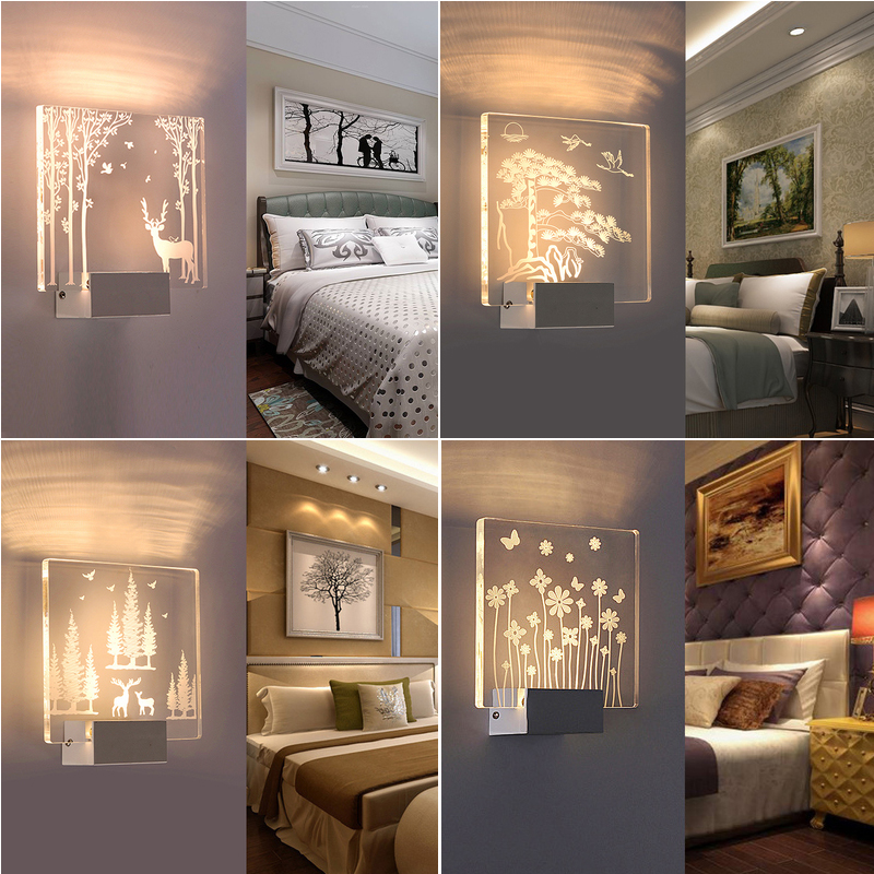 3D Creative Square LED Indoor wall Light Surface Mounted Bedside Lamps Modern Acrylic Sconce Lamp For Living Bed Room Lighting image