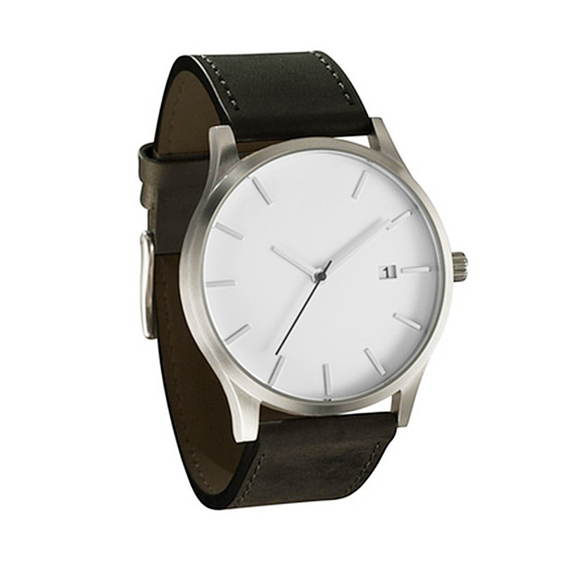 Fashion Business Quartz Large Dial Watch For Men 39 s Matte Belt Wrist Watches relojes watch strap leather in Quartz Watches from Watches