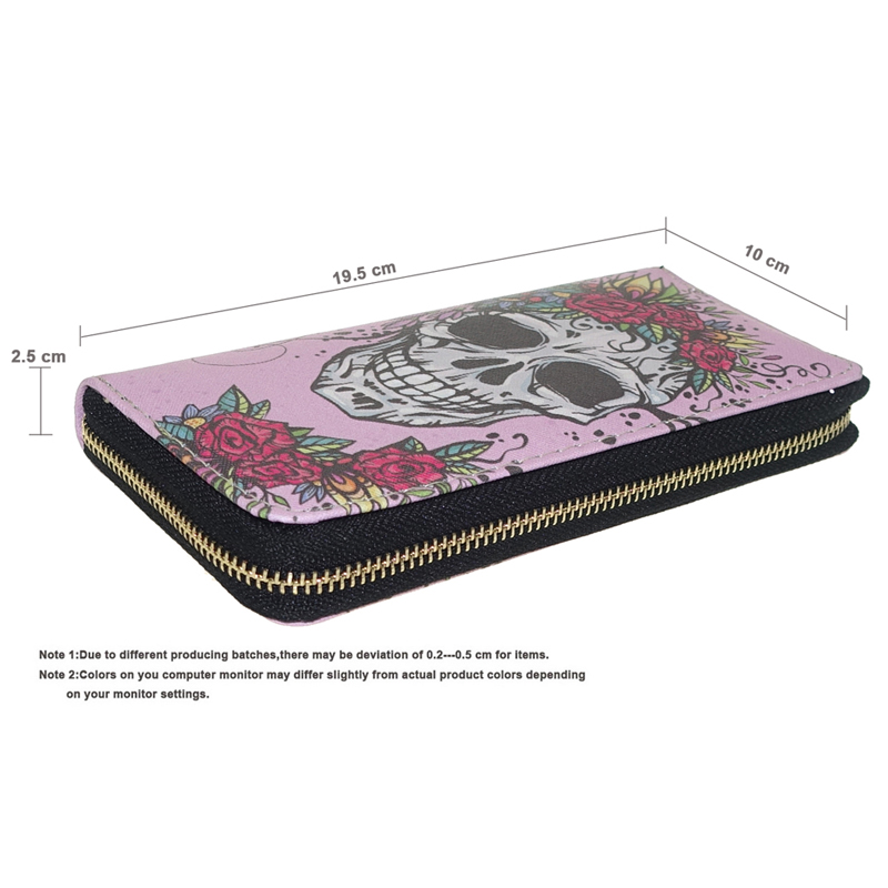TZECHO Zipper Wallet for Women With Phone PU Skull Head Clutch Female Purses Rfid Credit Cards Ladies Long Women Wallets Walet