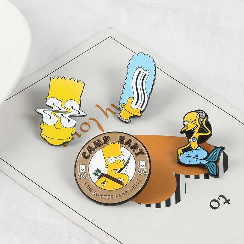משפחת סימפסון סיכות Donut מצחיק עיצוב תגי סיכות הומור קריקטורה אמייל תרמיל סיכות עבור אוהדי אנימה מתנות תכשיטים סיטונאי