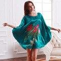 Flower print pijama feminino plus size silk nightgown women's sleepwear floral pattern sleepdress 2014 summer home dress