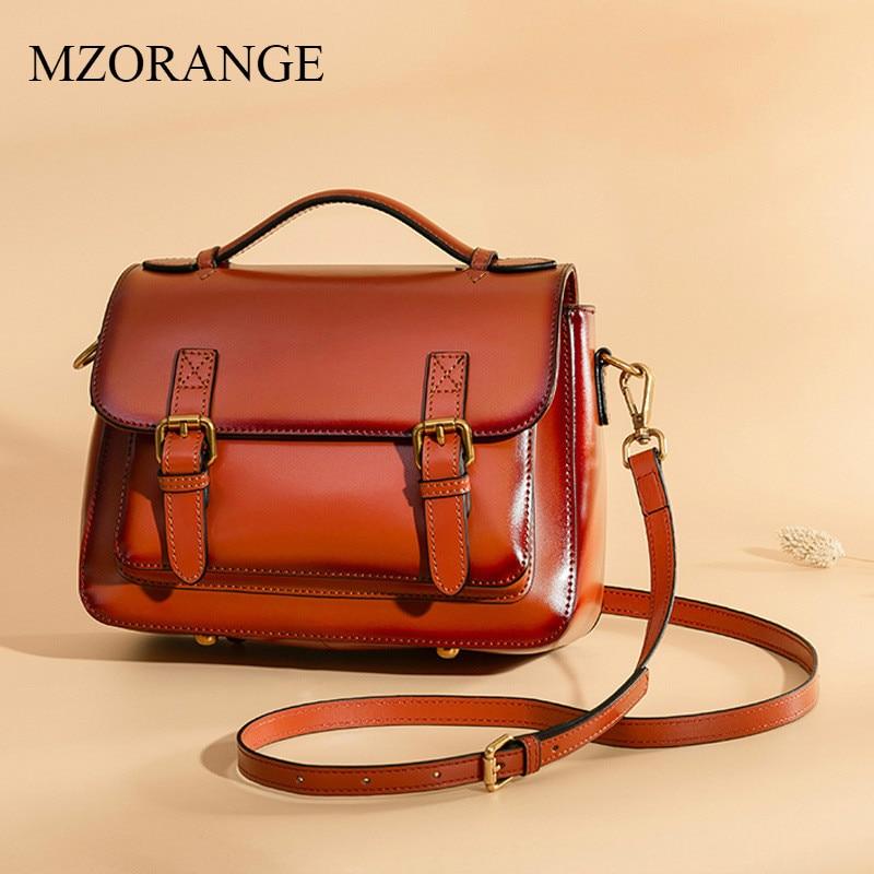 MZORANGE Brand Vintage Flap Women Genuine Leather Fashion Crossbody Bags Ladies Postman Bag Handbags Shoulder Bags Two Size