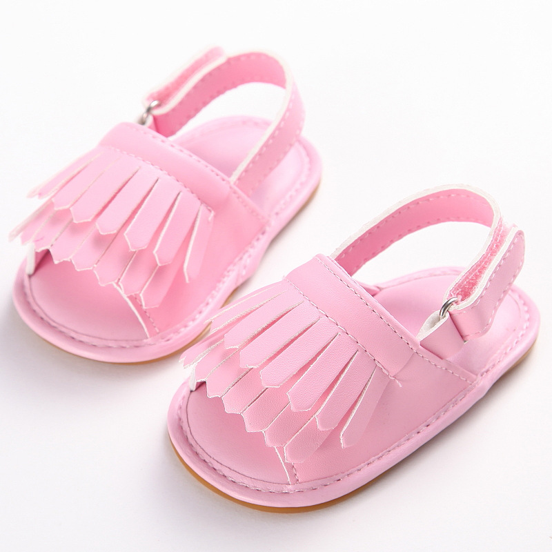 Infant Baby Toddle Baby Girls Rubber Sole Shoes PU Leather Tassel Solid Soft Bottom Crib Anti-slip Summer First Walkers Shoes