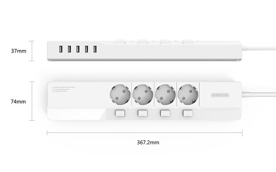 NTONPOWER EU Plug USB Power Socket Surge Protection (22)