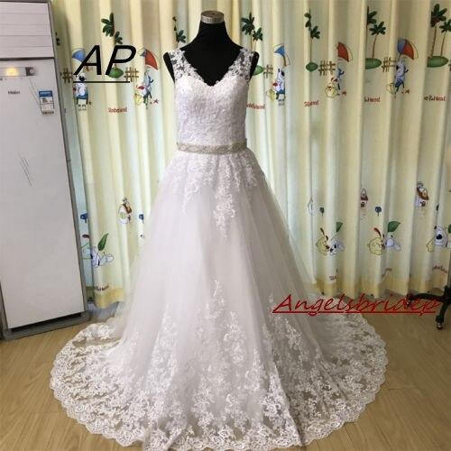 Angelsbridep Elegant V Neck Style Arabic Wedding Dress Hochzeitskleid 2019 Cap Shoulder Applique Vestidos De Noivas