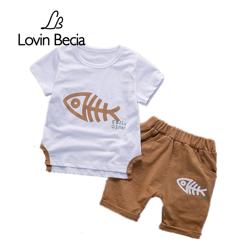 LovinBecia brand Summer Children Clothing Sets printed T-shirt Fish bones Shorts Sports Suit Kids Boys clothes girls Outfits