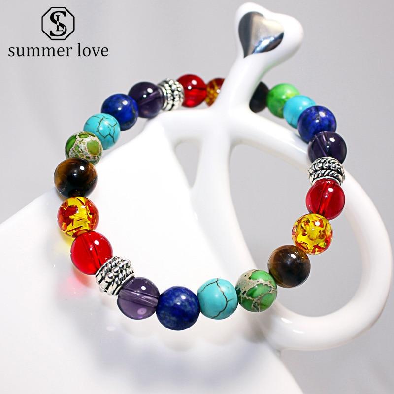 7 Chakra Fashion Healing Beaded Bracelet Natural Lava Stone Tiger Eye Beads Bracelet 8MM For Women Men Yoga Jewelry Dropshipping