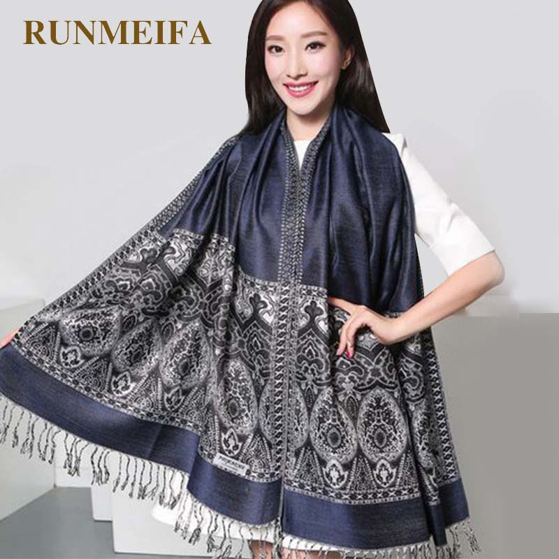 [RUNMEIFA] 2018 New Hot Fashion Women Lady Double Side Paisley Silk Pashmina   Scarf     Wrap   Shawl Retro Elegant   Scarf   Free Shipping