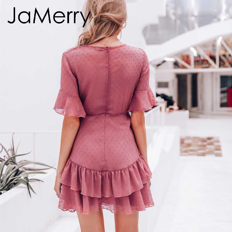 JaMerry, винтажное, сексуальное, розовое, в горошек, женское платье, Летний стиль, многослойный, с рюшами, короткий сарафан, элегантное, на молнии, праздничное, vestidos 2019