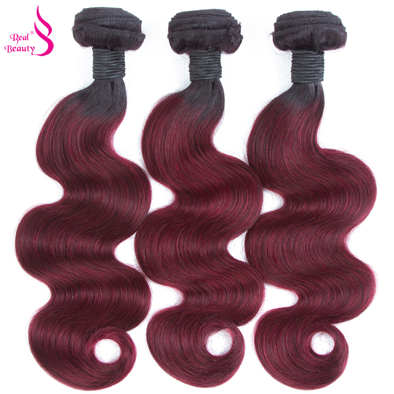Ombre Brazilian Body Wave 3 Bundles With Closure 1B/Burgundy Human Hair Bundles With Closure 99J Red Remy Real Beauty