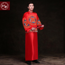Show mens clothing pratensis chinese style wedding Gown  red embroidery groom evening Long gown kimono jacket tang suit costume