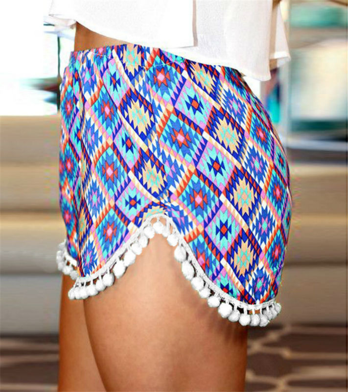 2017 Summer Ladies Loose Boho Shorts Women Short Pants Femme Sexy Mini Fitness Beach Cotton Crochet Lace Print flower Shorts 7