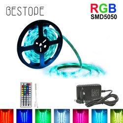 5 M 10 M 15 M diodo emissor de luz SMD 5050 RGB Tira CONDUZIDA Impermeável Fita DC 12 V Fita RGB conjunto Completo Faixa de Luz flexível com Adaptador