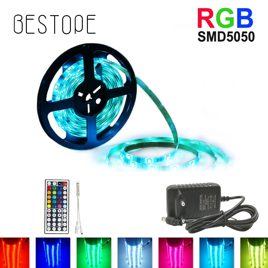 8M 10M SMD 5050 RGB LED Strip 5M 4M LED-lys Vanntett Tape DC 12V Ribbon RGB Fleksibel Lys Strip Fullt sett med adapter