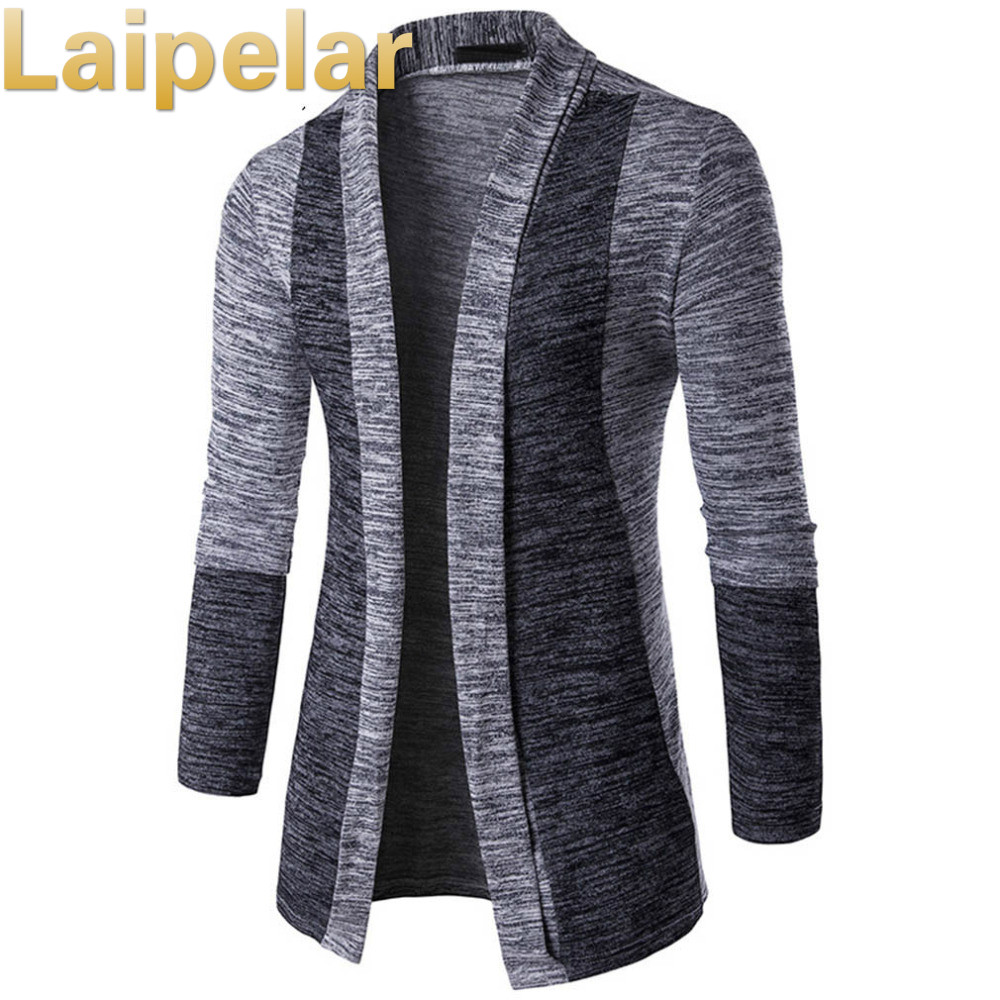 New Arrival Men Patchwork Sweater Fashion Pattern Design Long Sleeve Cardigan Robe Sweater Slim Casual Sweater Laipelar Autumn