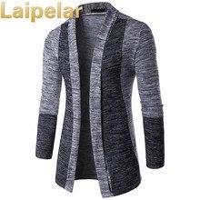New Arrival Men Patchwork Sweater Fashion Pattern Design Long Sleeve Cardigan Robe Slim Casual Laipelar Autumn
