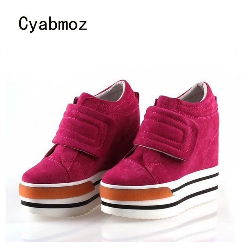 Cyabmoz Genuine leather Women Shoes Woman Platform Wedge High heels Womens Zapatillas deportivas Zapatos mujer Tenis feminino цена и фото