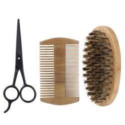 3 шт./компл. Мужская щетина для бритья борода расческа-ножницы набор мужской уход за лицом щетка для бритья Ножницы Набор волосяных кистей