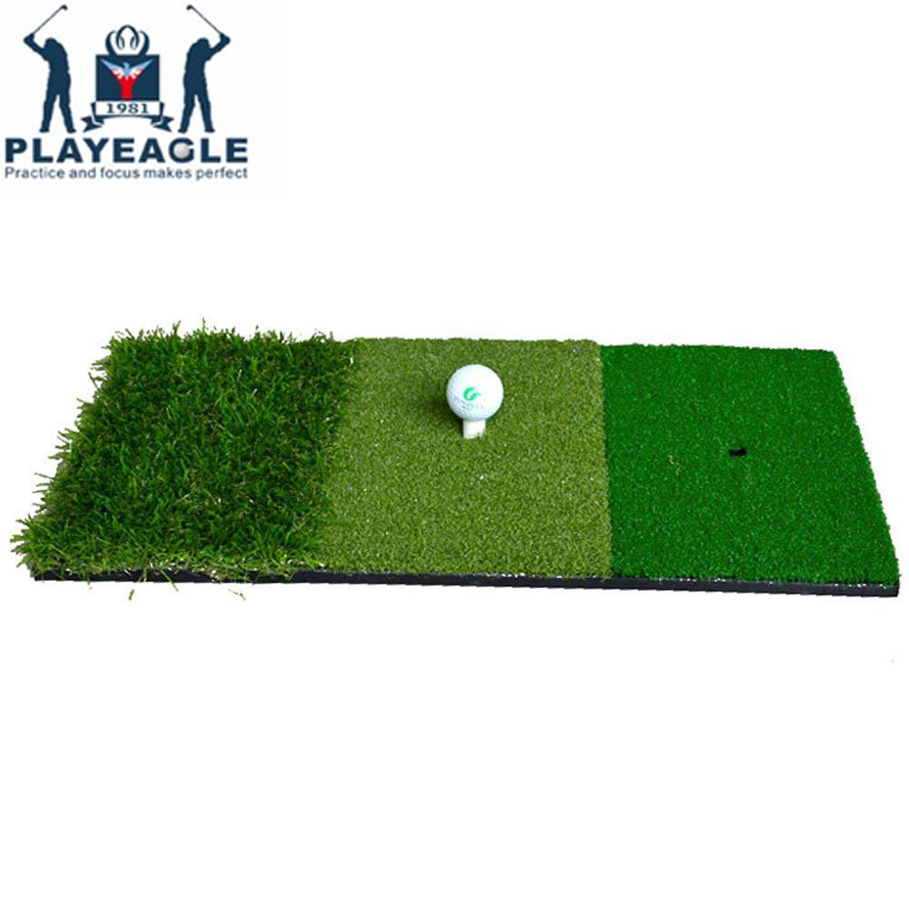 FUNGREEN 12''x24''Golf Hitting Mat Indoor Outdoor Tri-Turf Golf Mat with Tees Hole Practice Golf Mat Protable Golf Training Aids